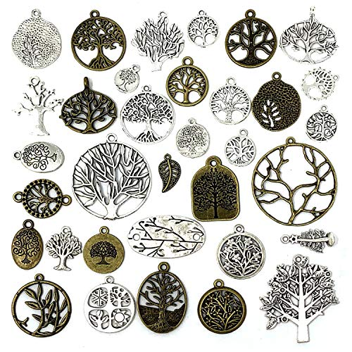 JIALEEY 35 PCS Mixed Tree of Life Charms Pendents DIY for Necklace Bracelet Jewelry Making and Crafting, Antique Silver&Bronze Tones