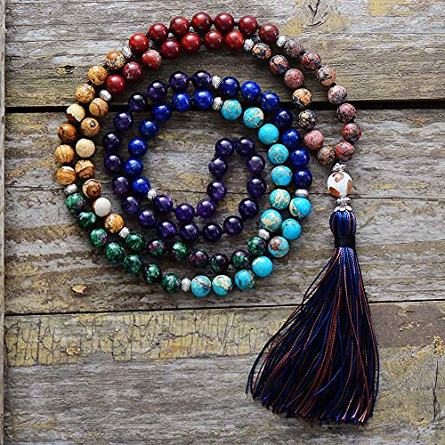 HaiFiy 7 Chakra Mala 8MM Piedra Natural Collar de Borla Larga Mujeres Meditación Collar Anudado Bead Yoga Collar Joyería Joyas novedosas Navidad