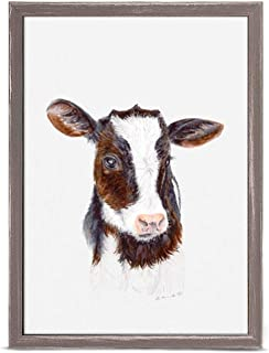 GreenBox Art + Culture Baby Cow Portrait by Brett Blumenthal 5 x 7 Mini Framed Canvas, Rustic Natural