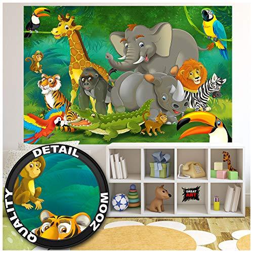 GREAT ART Fototapete Kinderzimmer – Dschungel Tiere – Wandbild Dekoration Jungle Animales Zoo Natur Safari Adventure Tiger Löwe Elefant AFFE Foto-Tapete Wandtapete Fotoposter (210x140 cm)