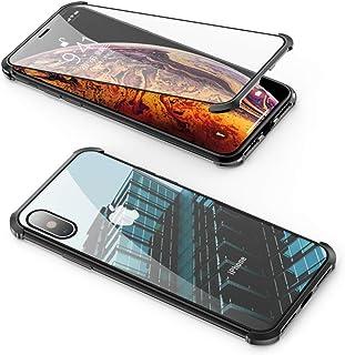 Jonwelsy Funda para iPhone 8/7 (47 Pulgada) 360 Grados Delantera y Trasera de Vidrio Templado Frameless Case Cover Fuerte Tecnología de Adsorción Magnética Metal Bumper Cubierta (Negro)