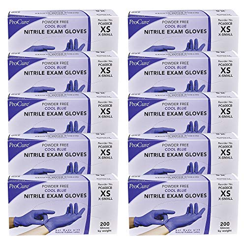ProCure Disposable Nitrile Gloves - X-Small, 2,000 Count Case - Powder Free, Rubber Latex Free, Medical Exam Grade, Non Sterile, Ambidextrous - Soft with Textured Tips - Cool Blue
