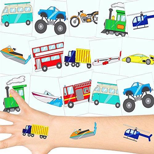 German Trendseller® - Fahrzeuge Tattoos Set ┃ NEU ┃ Kinder Party ┃ Kindergeburtstag ┃ Mitgebsel ┃36 Tattoos