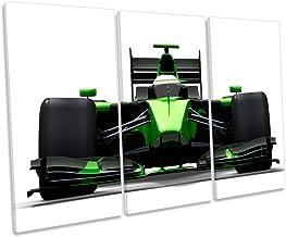 Green Race Car Formula One Treble Canvas - Lienzo Decorativo para Pared, Verde, 120cm Wide x 80cm High