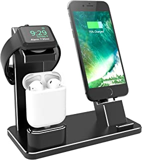 XUNMEJ Watch Stand for Apple Phone Charging Dock Aluminum 4 in 1 AirPods Charging Stand Accessories Station Holder for Apple Watch 4 3 2 1 AirPods Phone Xs X Max XR 7 7plus iPad Mini (Black)