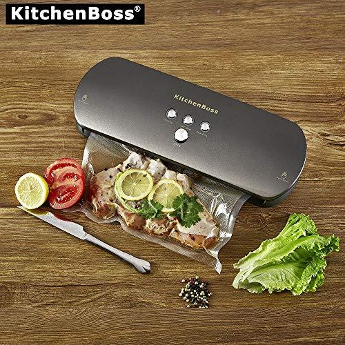 KitchenBoss Envasadora de alimentos al vacío, Sistema de Sellado Automático por Vacío, con Kit de Arranque 20 Bolsas envasado al vacío
