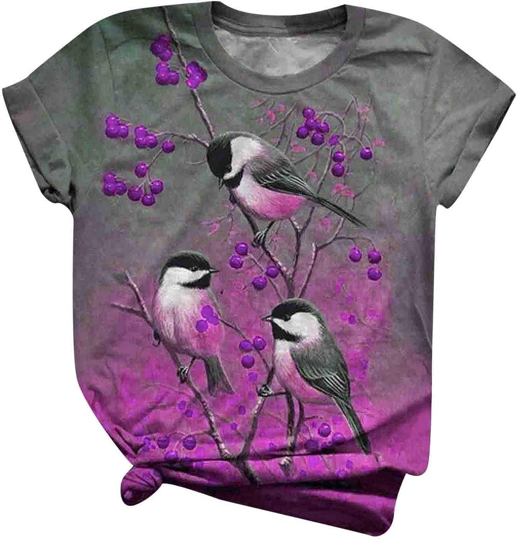 Women's Cute Bird Tree Printed T Graphic Sleeve All New York Mall items free shipping Shirt Short