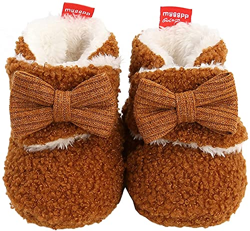 Botines de forro polar acogedores para niña recién nacida, zapatos suaves, zapatos de invierno para primer caminante, regalo de cumpleaños, café, 12 - 18 Meses