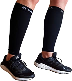 BeVisible Sports Calf Compression Sleeve - Shin Splint Leg Compression Socks for Men and Women | Calf Sleeves for Running Cycling Travel & Recovery