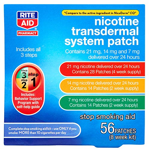 Rite Aid Nicotine Patch Kit - 56 Count | Includes Step 1, Step 2, Step 3 Nicotine Patches | All 3 Steps to Help Quit Smoking
