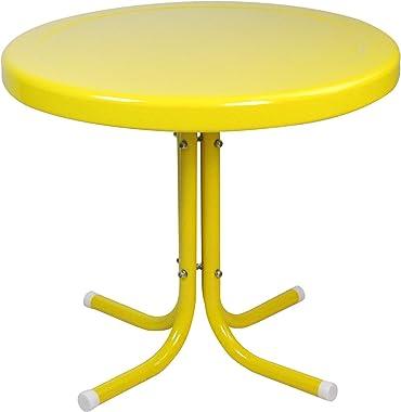 Northlight 21.75-Inch Outdoor Retro Metal Tulip Side Table, Yellow