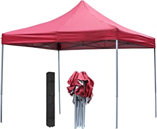 DOIT 10ft x 10ft Outdoor Portable Pop Up Shade Instant Folding Canopy, Party Tent, Height Adjustment, Sturdy High Grade Steel Frame, Portable Wheeled Carrying Bag, Red