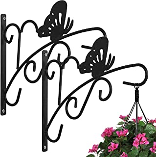 2 Pack Hanging Plants Bracket 11'' Wall Planter Hook Flower Pot Bird Feeder Wind Chime Lanterns Hanger Patio Lawn Garden for Shelf Shelves Fence Screw Mount against Door Arm Hardware