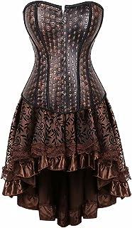 فستان بمشد Steampunk للنساء طقم تنورة ملابس داخلية ضيقة على الطراز القوطي