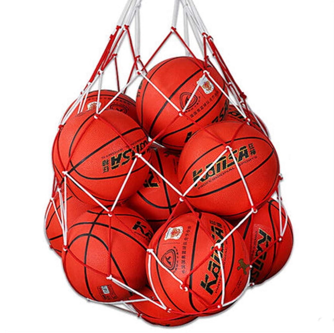 淡いインターネット協同ボールバッグ 大容量 ボール用 収納袋 5-15個収容 バスケットボール サッカー バレーボール 収納 メッシュ ネット 網袋 簡易バッグ 肩掛け 耐荷重 持ち運び便利 スポーツ 学校 試合 練習 レッド