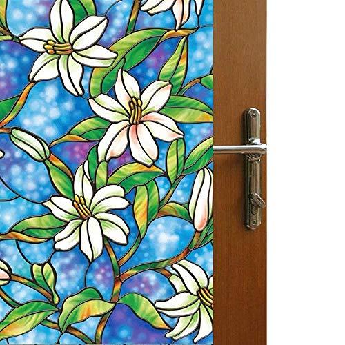 LMKJ Película de Ventana de privacidad de orquídea Azul Transparente Opaco de Mantenimiento Fresco vidriera Decorativa película de Ventana Pegatina de Ventana B47 60x100cm