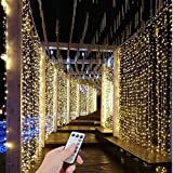 SZXKT UL Safe 300 LED 9.8FT Connectable Curtain Lights Icicle Lights Fairy String Twinkle Lights with 8 Modes for Christmas Wedding Party Family Patio Lawn Decoration (Warm White)