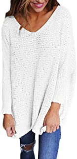 YS.DAMAI Women's V Neck Sweaters Casual Loose Long Batwing Sleeve Knit Pullover Tops