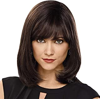 HAIRCUBE Wig 12 Inch Fashion Short Bob Wigs for Women Dark Brown Human Hair Wigs for White Women with Bangs