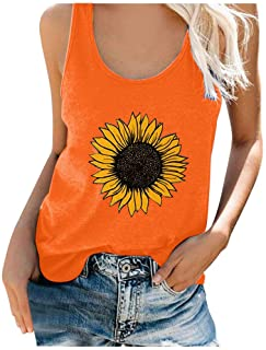 Women Plus Size Summer Tank Tops, Ladies Sunflower Printed Sleeveless Vest T-shirt Top