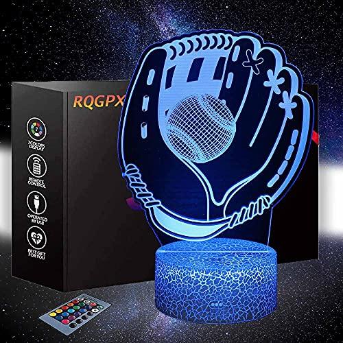 Luz de noche LED Plug in Baseball Niños Luz de noche 16 colores Auto cambio táctil Interruptor de escritorio Decoración Lámparas Regalo de cumpleaños con control remoto