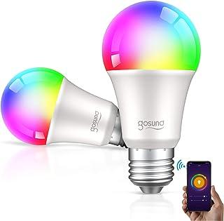 لامپ هوشمند لامپ Gosund LED WiFi RGB لامپ های تغییر رنگ که با الکسا Google Home ، لامپ چند رنگ E26 A19 8W کار می کند ، بدون توپی لازم است ، 2 بسته