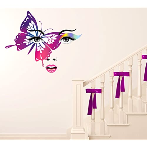 Decals Design 'Fancy Lady Face with Rainbow Make Up and Big Butterfly' Wall Sticker (PVC Vinyl, 50 cm x 70 cm x 1 cm), Multicolour