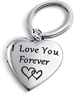 I Love You Forever Key Chains for Women Heart Locket Necklace That Holds Pictures