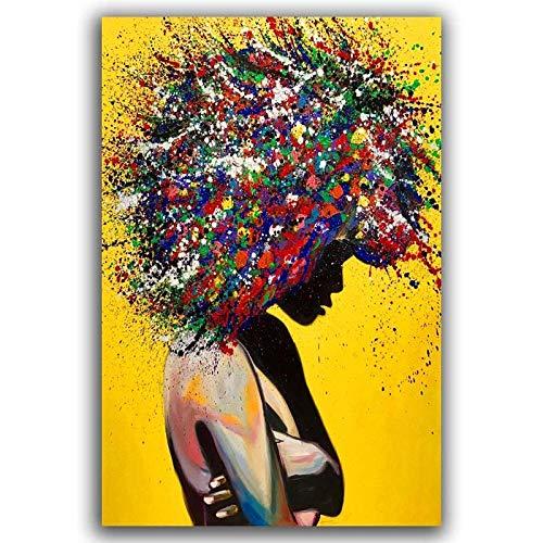 Wandkunst Leinwand Malerei,Leinwand Malerei Kunst Poster Sexy Schönheit Abstrakt Bunte Haare Moderne Wand Hängen Bilder Wohnzimmer Schlafzimmer Home Decor Kein Frame Zeichnung Kern,70 X 100 Cm Ohn