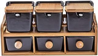 Pot Epices Pors d'épices Creative Black Céramique Assaisonniers Boîtes d'assaisonnement en céramique Blanc Pot De Bambou C...
