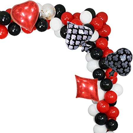 """Poker  12/""""  Black /& Red Asst Printed Latex Balloons pack of 5 Cards /& Chips"""