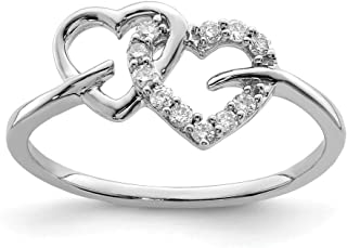 925 Sterling Silver Diamond Double Heart Band Ring S/love Fine Jewelry For Women Gift Set