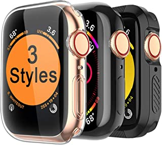 MARGE PLUS for Apple Watch Screen Protector 44mm, [3 Style] Case for iWatch Series 4 / Series 5, Soft TPU All Around Cover, 1 Clear & 1 Black, 1 Shock-Proof Bumper Case Black