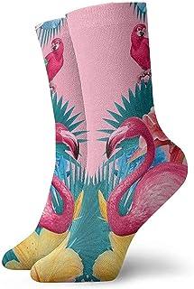 Dydan Tne, Niños Niñas Locos Divertidos Flamencos Flor Palmera Rosa Calcetines de Vacaciones de Verano Lindos Calcetines de Vestir de Novedad