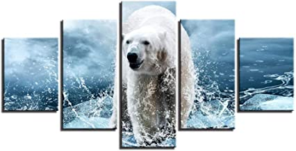 Framework Canvas Painting HD Prints Home Decor 5 Pieces Wall Art Polar Bear Modular Pictures Artwork Bedside Background Poster-with Frame