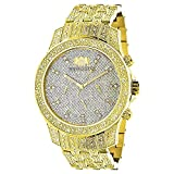 Iced Out Mens Diamond LUXURMAN Watch 1.25ct Yellow Gold Tone