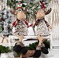 GMOEGEFT Handmade Christmas Moose, Reindeer Rudolph Plush, Stuffed Animal Figurines, Xmas Holiday Home Decoration