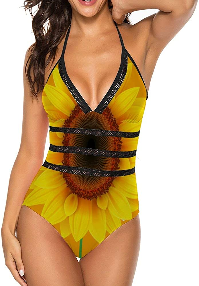 fenrris65 Sunflower One-Piece Swimsuit Print Women Sexy Backless Detroit Mall Direct sale of manufacturer