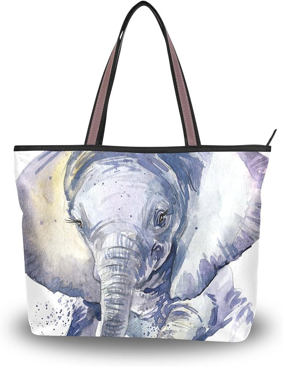 JSTEL Women Large Tote Top Handle Shoulder Bags Elephant Watercolor Patern Ladies Handbag L