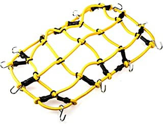 MOHERO 1/10 RC Elastic Luggage Net with Hook for 1:10th RC Vehicles RC Crawler Truck Car D90 TRX4 Roof Rack (Yellow)