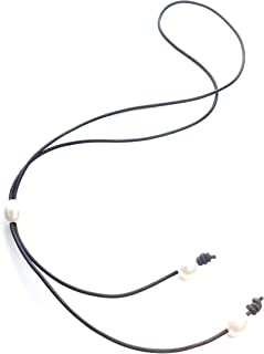 White Freshwater Pearl and Chocolate Leather lariat necklace 26 inches - Third 3rd anniversary gift for wife girlfriend. Present for sister best friend mom aunt. Wear 2 ways.