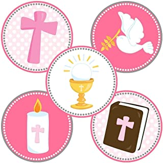 Girl First Holy Communion Party Favor Stickers in Pink - Christening Baptism Labels - Set of 50