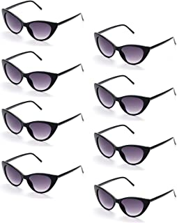 Onnea fashion 8 Pack 80s Vintage Retro Cat Eye Wholesale Sunglasses for Party Favor Supplies Holiday Accessories Collection