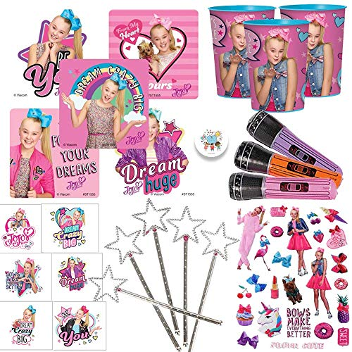 Jojo Siwa Birthday Party Favor Pack For 12 With Favor Cups, Inflatable Microphones, Stampers, Tattoos, Stickers, and Pin By Another Dream