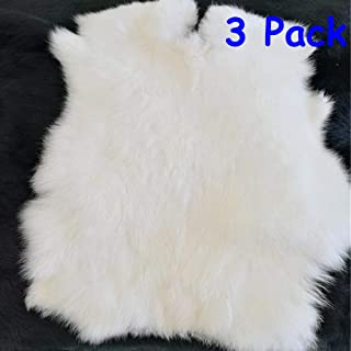 Natural Rabbit Fur Craft Grade Rabbit Pelts Sewing Quality Leather Rug Blanket,White,3 Pack