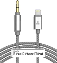 (Apple MFI Certified) iPhone Aux Lightning Cord to Male 3.5mm Auxiliary Cable (iPhone Audio Link to Car Jack, Headphones & Speakers) (Gray)