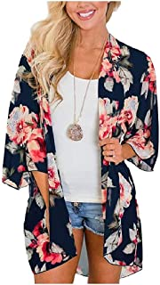 neveraway Womens Kimono Printed Fashion Open Front Beach Chiffon Cardigan