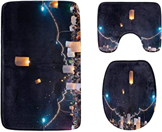 Kongming Lantern Over The Evening Fields Bathroom Rug Mats Set 3-Piece,Soft Shower Bath Rugs,Contour Mat and Toilet Seat L...