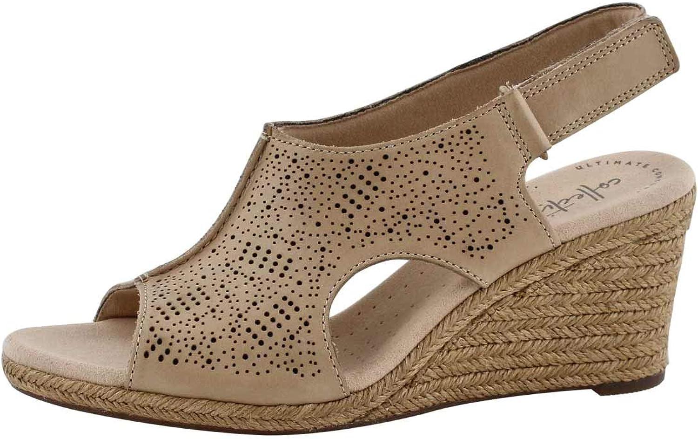 Clarks Women's Lafley pinkn Wedge Sandal Sand 9 M US