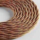 Klartext - Cavo tessile trecciato LUMIÈRE per illuminazione, 3x0,75mm, Bronzo, 3mt. Attenzione: cavo terra incluso! Massima sicurezza anti scossa!